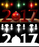 3D rendering 2017 New Year red digits with a red christmas ball. With an alpha channel Stock Photo