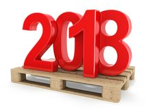 3D rendering 2018 New Year red digits. Worth on a pallet Royalty Free Stock Photo