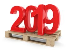 3D rendering 2019 New Year red digits royalty free illustration