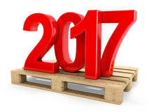 3D rendering 2017 New Year red digits. Worth on a pallet Royalty Free Stock Images