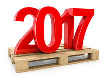 3D rendering 2017 New Year red digits. Worth on a pallet Stock Photos