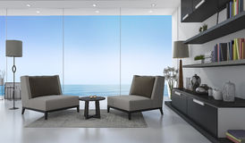 3d rendering nice armchair in white living room near sea Royalty Free Stock Photography