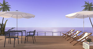 3d rendering nice beach dining set with bench on wooden terrace near sea Stock Photography