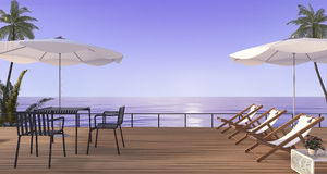 3d rendering nice beach dining set with bench on wooden terrace near sea. 3d rendering by 3ds max Royalty Free Stock Photos