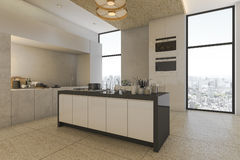 3d rendering nice city view from kitchen on condominium Stock Images
