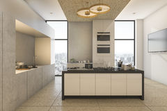 3d rendering nice city view from kitchen and dining on condominium Royalty Free Stock Images