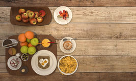 3d rendering nice colorful breakfast consist of bread and fruit and coffee and milk on wooden table Stock Photography