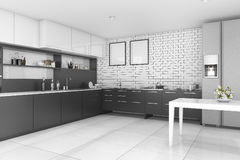 3d rendering nice contemporary style black kitchen. 3d rendering interior design by 3ds max Royalty Free Stock Photography