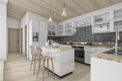3d rendering nice contemporary wood kitchen and dining counter. 3d rendering interior design by 3ds max Royalty Free Stock Photography