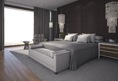 3d rendering nice daylight in beautiful bedroom Royalty Free Stock Photography