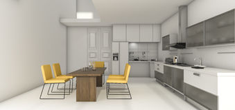 3d rendering nice design kitchen and bright yellow dining zone stock photos - Nice Kitchen Designs Photo