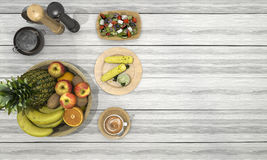 3d rendering nice meal consist of fruit and corn and coffee on white wood table. 3d design and rendering  by 3dsmax Royalty Free Stock Image