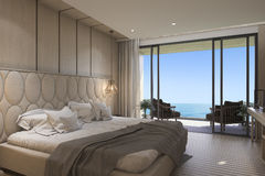 3d rendering nice sea view bedroom with luxury design. 3d rendering by 3ds max Stock Photos