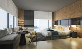 3d rendering nice sea view bedroom with luxury design. 3d rendering interior and exterior design Stock Image