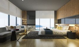 3d rendering nice sea view bedroom with luxury design. 3d rendering interior and exterior design Stock Images