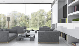 3d rendering nice sofa in living room near garden view. 3d rendering by 3ds max Stock Images