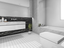 3d rendering nice view bathroom with white and black design Stock Image