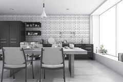 3d rendering nice white brick kitchen and dining room. 3d rendering interior design by 3ds max Stock Photos