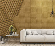 3d rendering nice white sofa with abstract wood wall design background. 3d rendering illustration Stock Photos