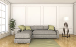 3d rendering nice wood floor with grey sofa Royalty Free Stock Photography