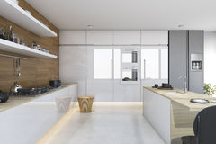 3d rendering nice wood kitchen with dining bar. 3d rendering interior design by 3ds max Stock Image