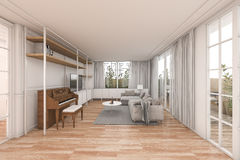 3d rendering nice wood living room with nice furniture in white home. 3D Interior rendering by 3ds max stock illustration