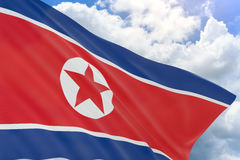 3D rendering of North Korea flag waving on blue sky Royalty Free Stock Image