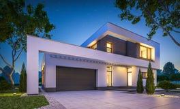3d rendering nowożytny dom przy nocą Obrazy Royalty Free