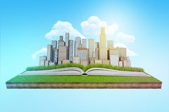 3d rendering nowożytny miasta wydźwignięcie od otwartej książki która kłama na łacie unosi się w niebieskim niebie zielony gazon ilustracji