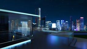 3D rendering nowożytny szklany balkon z miasto linią horyzontu zdjęcia stock