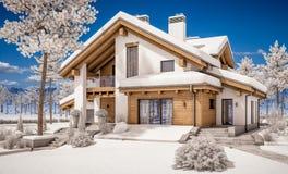 3d rendering nowożytny wygodny dom w szaletu stylu Fotografia Stock