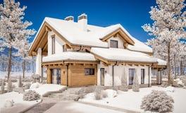 3d rendering nowożytny wygodny dom w szaletu stylu Zdjęcia Stock