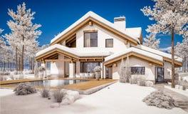 3d rendering nowożytny wygodny dom w szaletu stylu Obraz Stock