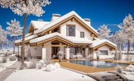 3d rendering nowożytny wygodny dom w szaletu stylu Obraz Royalty Free