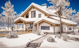 3d rendering nowożytny wygodny dom w szaletu stylu Obrazy Stock