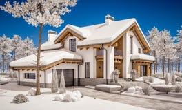 3d rendering nowożytny wygodny dom w szaletu stylu Obrazy Royalty Free