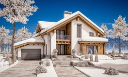 3d rendering nowożytny wygodny dom w szaletu stylu Zdjęcia Royalty Free