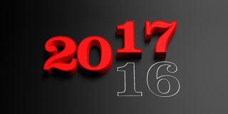 3d rendering 2017 number. 2017 3d rendering number on black background Royalty Free Stock Image