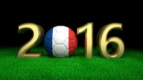 3d Rendering of 2016 number. 3d Rendering of 2016 France Football cup in Europe Royalty Free Stock Photo