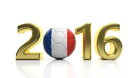 3d Rendering of 2016 number. 3d Rendering of 2016 France Football cup in Europe Stock Image