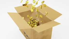 3D Rendering a number of Golden Dollars Coins Fall into Brown Package on White Background with Pop Up animation at the beginning