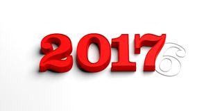 3d rendering 2017 number. Red 2017 3d rendering number on white background Stock Photo