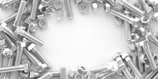 3d rendering nuts and bolts on white background. With copy space Stock Image