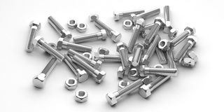 3d rendering nuts and bolts on white background. 3d rendering nuts and bolts heap on white background Stock Image