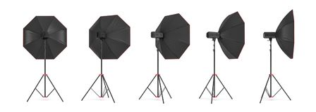 3d rendering of an octobox lighting set on a stand in different angles. Professional studio lighting. Photography equipment. Light dispersion tools Royalty Free Stock Images