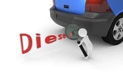 3D rendering od glinianego charakteru który sprawdza dieslowską samochód rurę wydechową z magnifier Zdjęcie Stock