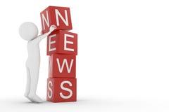 3D rendering od glinianego charakteru podnosi sześcian listowy N wierzchołek inni listy od thew słowa wiadomości Zdjęcia Stock