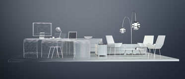 3D rendering office plan Stock Images