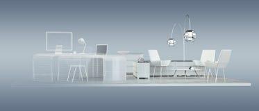 3D rendering office plan Stock Photo