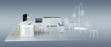 3D rendering office plan Stock Image
